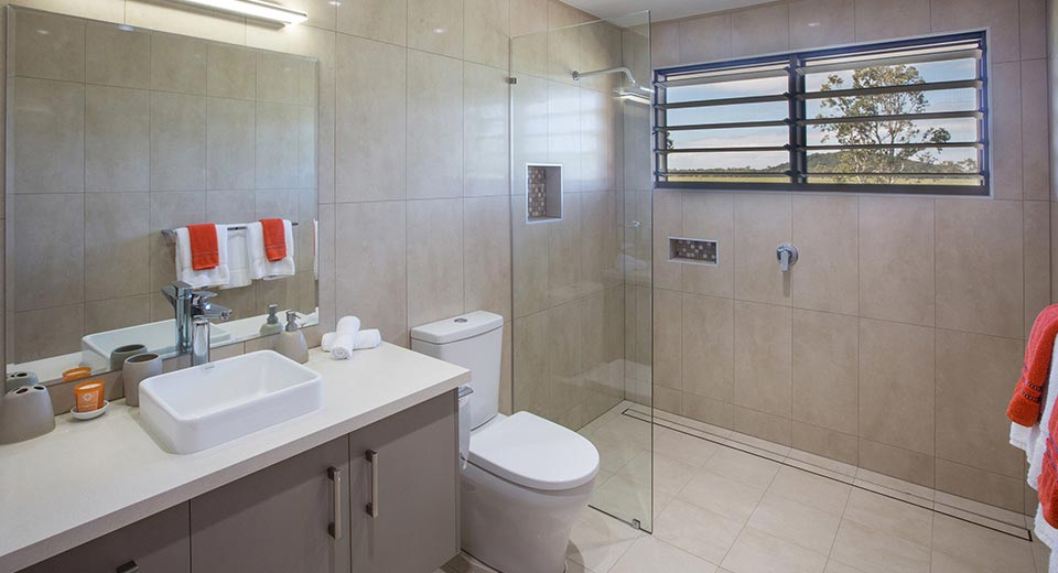 Tastefully appointed bathrooms in rental holiday home